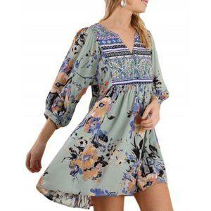 UMGEE Boho Sage Floral Print Peasant Mini Dress S